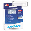 DYM45020 D1 Standard Tape Cartridge for Dymo Label Makers, 1/2in x 23ft, White on Clear DYM 45020