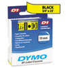 DYM45808 D1 Standard Tape Cartridge for Dymo Label Makers, 3/4in x 23ft, Black on Yellow DYM 45808