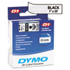 DYM53710 D1 Standard Tape Cartridge for Dymo Label Makers, 1in x 23ft, Black on Clear DYM 53710