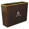 EXCRCMTR3HCP Metro Collection Recycling Receptacle, Triple Stream, Steel, 54 gal, Brown EXC RCMTR3HCP