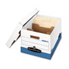 FEL0083601 R-Kive Maximum Strength Storage Box, Letter/Lgl, Locking Lid, White/Blue, 12/Ctn FEL 0083601