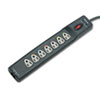 Surge protector with seven outlets, 1,600 J protection, and 40-45 dB noise protection features a Connected Equipment Warranty of $75,000. UL and cUL Listed.
