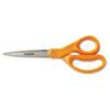 FSK34527797J Home and Office Scissors, 8 in. Length, Stainless Steel, Straight, Orange Handle FSK 34527797J