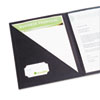 Cover letter portfolio with clear interior pocket, business card holder.