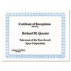 GEO20008 Parchment Paper Certificates, 8-1/2 x 11, Blue Conventional Border, 50/Pack GEO 20008
