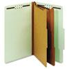 GLW29076 Pressboard Classification Folders, Six Fasteners, 2/5 Cut, Legal, Green, 10/Box GLW 29076