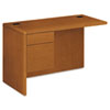 High-pressure laminate left return with three-quarter height box/file pedestal, full-height modesty panel and cord management grommets.