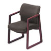 Reception area arm chair has hardwood frame, stain-resistant Olefin upholstery, sled base and lumbar support.