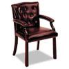 HON6545NEJ65 6540 Series Guest Arm Chair, Mahogany/Oxblood Vinyl Upholstery HON 6545NEJ65