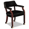 HON6552NEJ10 6550 Series Guest Arm Chair with Casters, Mahogany/Black Vinyl Upholstery HON 6552NEJ10