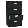 HON674LP 600 Series Four-Drawer Lateral File, 30w x19-1/4d, Black HON 674LP