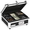 IDEVZ01002 Plastic & Steel Cash Box w/Tumbler Lock, Black & Chrome IDE VZ01002