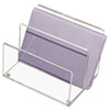 Clear cast-acrylic, two-compartment mini sorter.