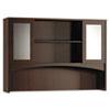 MLNBTDHG72LDC Brighton Series Double-Height Glass Door Hutch, 72w x 15d x 50½h, Mocha MLN BTDHG72LDC