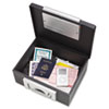 MMF22104 Electronic Cash Box, 12-7/8 x 11-1/8 x 6-1/4, Combination Lock, Black MMF 22104