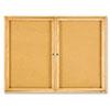 QRT364 Enclosed Bulletin Board, Natural Cork/Fiberboard, 48 x 36, Oak Frame QRT 364