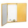 QRT838 Cabinet, Dry Erase, Fabric/Porcelain/Steel, 48 x 48 x 24, White, Oak Frame QRT 838