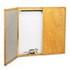 QRT853 Cabinet, Fabric/Dry Erase, Porcelain/Steel, 48 x 48 x 24, White, Oak Frame QRT 853
