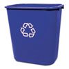 RCP295673BE Medium Deskside Recycling Container, Rectangular, Plastic, 28 1/8 qt, Blue RCP 295673BE
