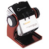 ROL1734242 Wood Tones Open Rotary Business Card File Holds 400 2 5/8 x 4 Cards, Mahogany ROL 1734242