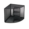 ROL62630 Mesh Corner Desktop Shelf, Five Sections, 20 x 14 x 13, Black ROL 62630