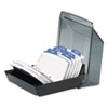 ROL67093 Petite Covered Tray Card File Holds 250 2 1/4 x 4 Cards, Black ROL 67093