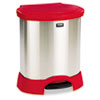 RCP614687RD Step-On Container, Oval, Stainless Steel, 23 gal, Red RCP 614687RD