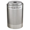 RCPDRR24CSM Silhouette Can/Bottle Recycling Receptacle, Round, Steel, 26 gal, Silver RCP DRR24CSM