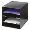 SAF3112BL Steel Desktop Sorter, Four Compartments, Steel, 11 x 12 x 10, Black SAF 3112BL