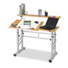 SAF3965MO Adjustable Split Level Workstation, 47-1/4w x 29-1/2d x 37-1/4h, Medium Oak SAF 3965MO