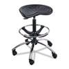 SAF6660BL Sit-Star Stool with Footring & Caster, 27€-36h Seat, Black/Chrome SAF 6660BL