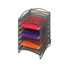 SAF9431BL Onyx Steel Mesh Lliterature Sorter, Six Compartments, Black SAF 9431BL