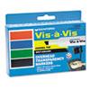 SAN1574 Vis-à-Vis Wet-Erase Marker, Chisel Point, Assorted, 4/Set SAN 1574