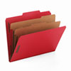 SMD14031 Pressboard Classification Folders, Letter, Six-Section, Bright Red, 10/Box SMD 14031