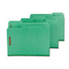 SMD14938 Colored Pressboard Fastener Folders, Letter, 1/3 Cut, Green, 25/Box SMD 14938