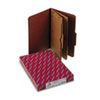 SMD19079 Pressboard Folders with Two Pocket Dividers, Legal, Six-Section, Red, 10/Box SMD 19079