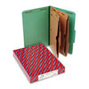 SMD19083 Pressboard Folders with Two Pocket Dividers, Legal, Six-Section, Green, 10/Box SMD 19083