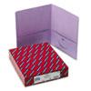 SMD87865 Two-Pocket Portfolio, Embossed Leather Grain Paper, Lavendar, 25/Box SMD 87865