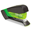 15-sheet capacity stapler features a spring-powered mechanism and a compact, ergonomic design in a lightweight metal body.
