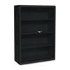 TNN342GLBK Executive Steel Bookcase W/ Glass Doors, 3 Shelves, 36w x 15d x 42h, Black TNN 342GLBK