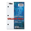 TOP62304 Filler Paper, 20-lb., 8-1/2 x 5-1/2, College Rule, White, 100 Sheets/Pack TOP 62304