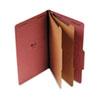 UNV10280 Pressboard Classification Folder, Legal, Six-Section, Red, 10/Box UNV 10280