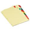 UNV21872 Economical Insertable Index, Multicolor Tabs, 8-Tab, Letter, Buff, 6 Sets/Pack UNV 21872