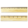 UNV59021 Flat Wood Ruler w/Double Metal Edge, 12