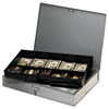 Extra-Wide Steel Cash Box w/10 Compartments, Key Lock, Gray - MMF2215CBTGY