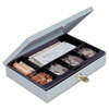 Heavy-Duty Steel Low-Profile Cash Box w/6 Compartments, Key Lock, Gray - MMF221618001
