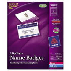 AVE74461 Badge Holders w/Laser/Inkjet Inserts, Top Load, 2 1/4 x 3 1/2, White, 100/Box AVE 74461