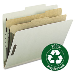 "SMD14023 Pressboard Classification Folder, 2"" Exp, 2 dividers, Letter, Gray/Green, 10/BX SMD 14023"