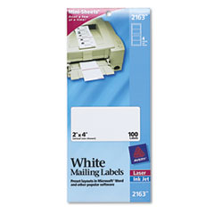 AVE2163 Laser/Inkjet Mailing Labels, Mini-Sheet, Mini-Sheet, 2 x 4, White, 100/Pack AVE 2163