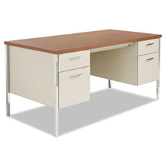 ALESD6030PC Double Pedestal Steel Desk, Metal Desk, 60w x 30d x 29-1/2h, Cherry/Putty ALE SD6030PC